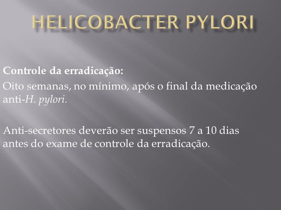Helicobacter pylori Controle da erradicação: