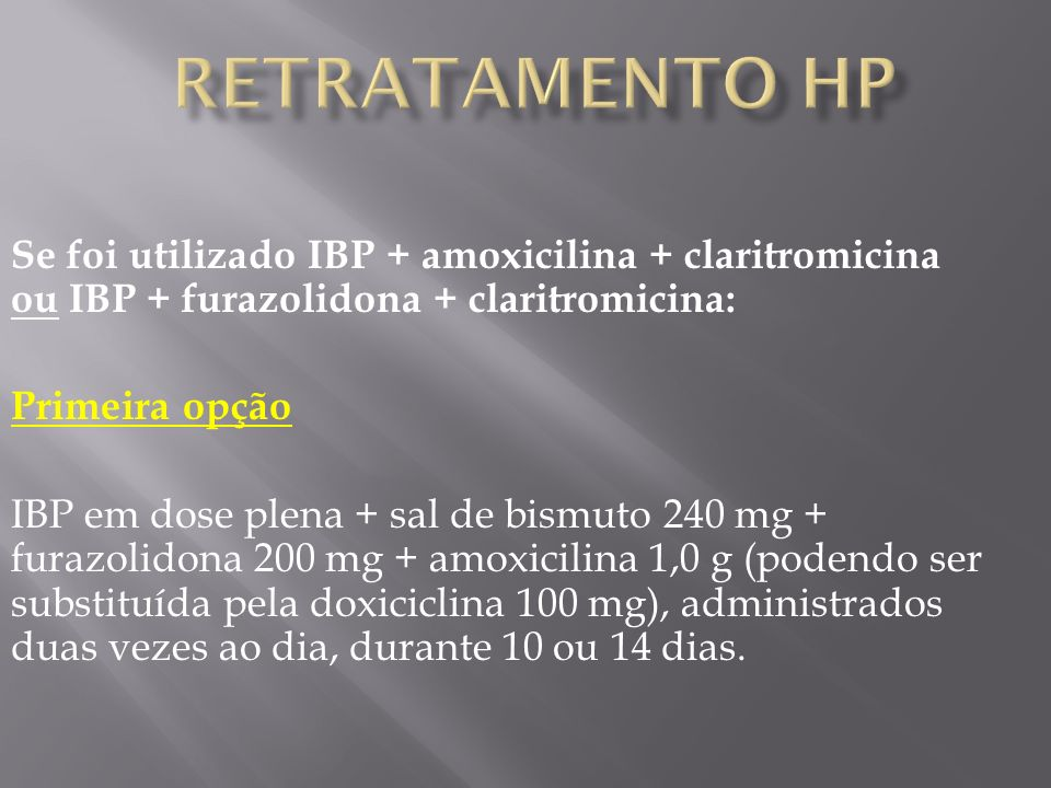 Retratamento HP Se foi utilizado IBP + amoxicilina + claritromicina ou IBP + furazolidona + claritromicina: