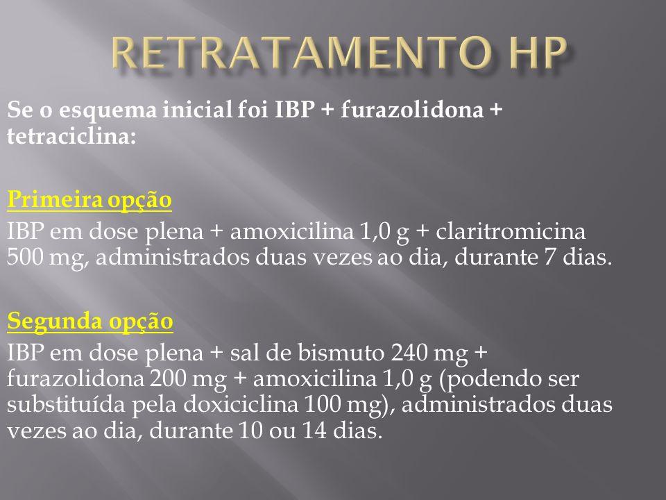 Retratamento HP Se o esquema inicial foi IBP + furazolidona + tetraciclina: Primeira opção.