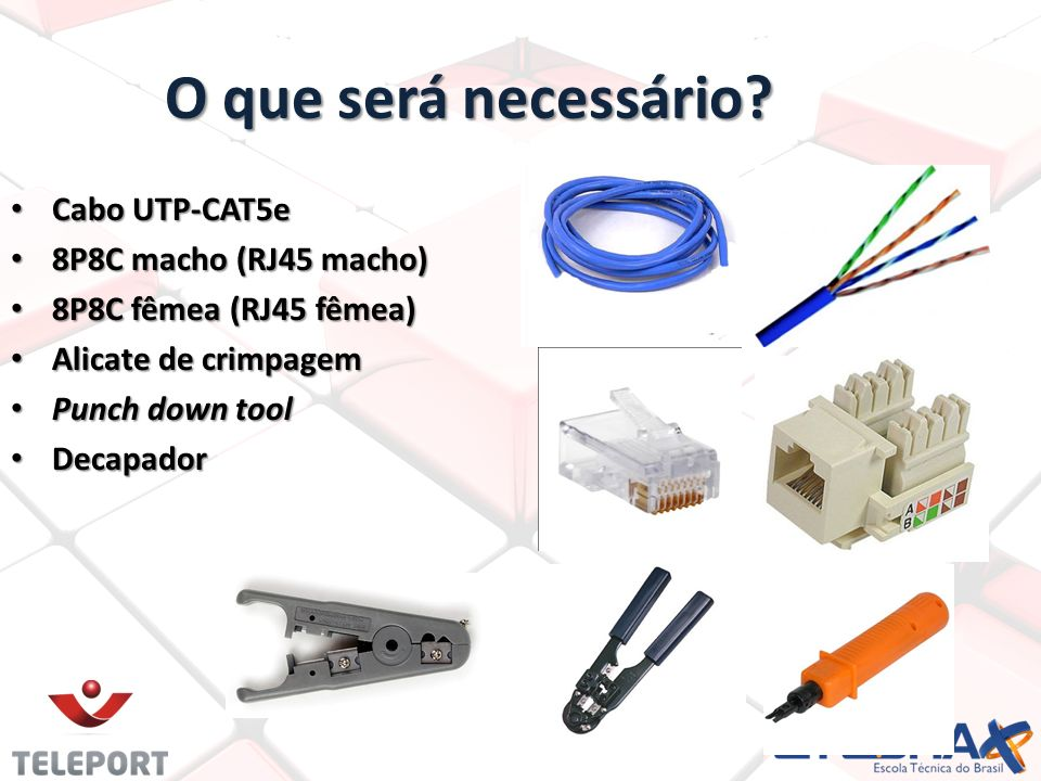 O que será necessário Cabo UTP-CAT5e 8P8C macho (RJ45 macho)