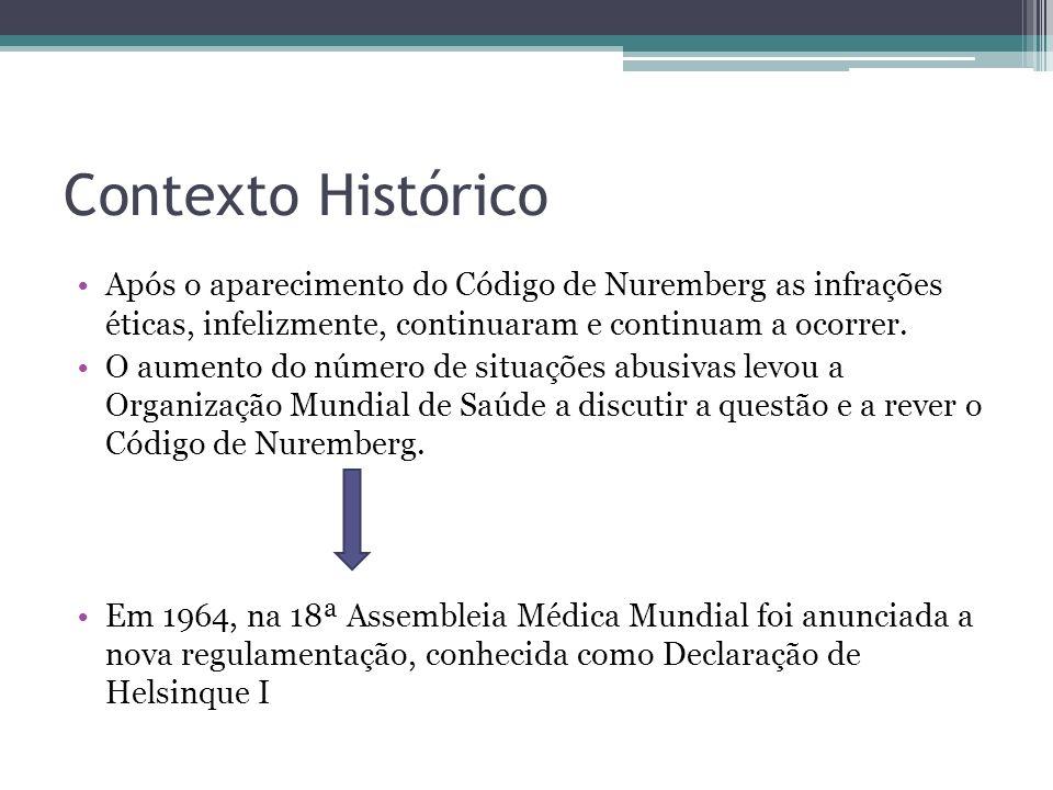 Contexto Histórico Após o aparecimento do Código de Nuremberg as infrações éticas, infelizmente, continuaram e continuam a ocorrer.