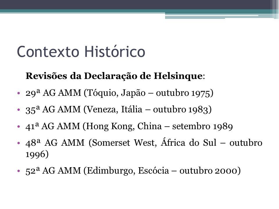 Contexto Histórico Revisões da Declaração de Helsinque: