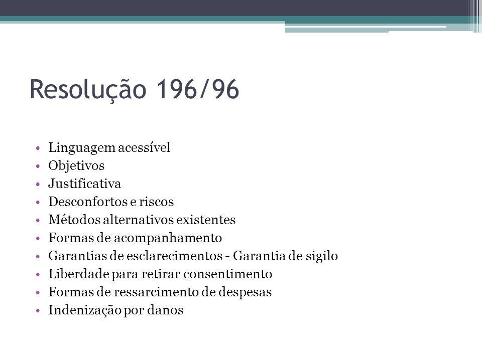 Resolução 196/96 Linguagem acessível Objetivos Justificativa