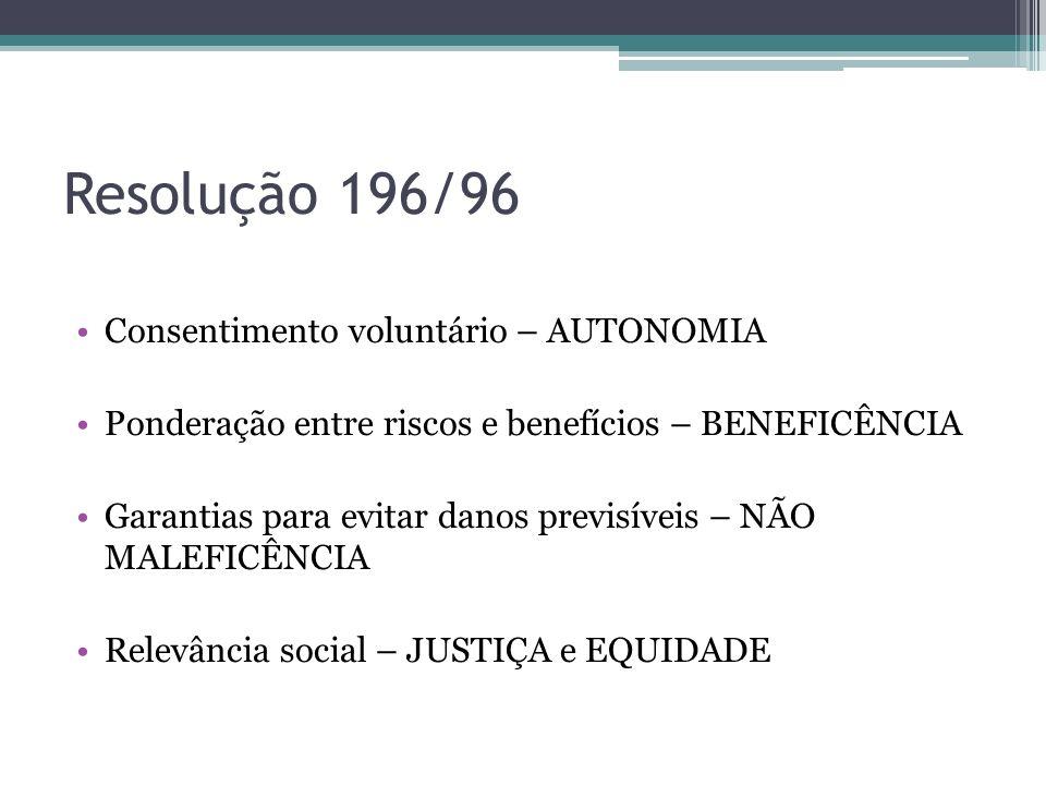 Resolução 196/96 Consentimento voluntário – AUTONOMIA