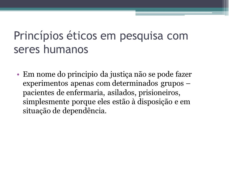 Princípios éticos em pesquisa com seres humanos