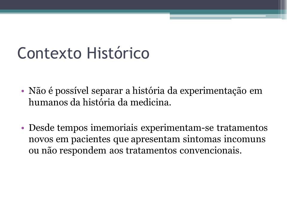 Contexto Histórico Não é possível separar a história da experimentação em humanos da história da medicina.