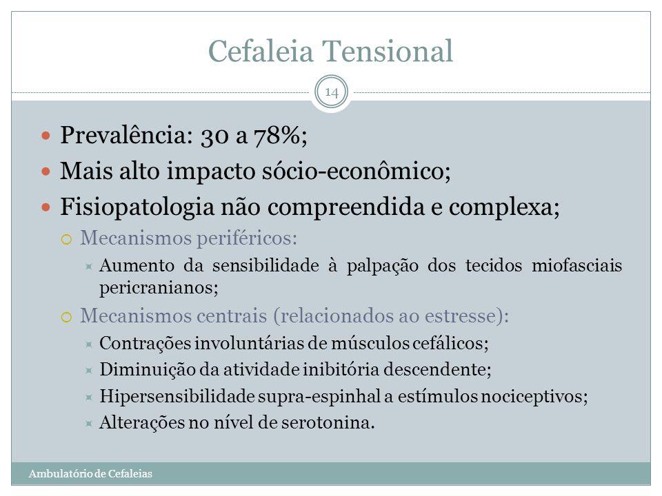 Cefaleia Tensional Prevalência: 30 a 78%;