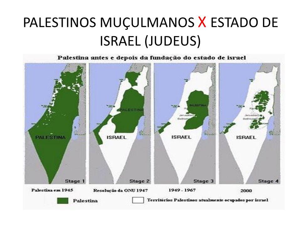 PALESTINOS MUÇULMANOS X ESTADO DE ISRAEL (JUDEUS)