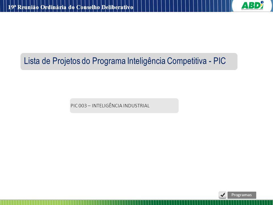 Lista de Projetos do Programa Inteligência Competitiva - PIC