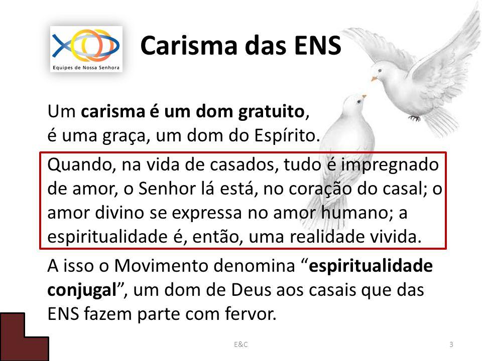 Carisma das ENS Um carisma é um dom gratuito, é uma graça, um dom do Espírito.