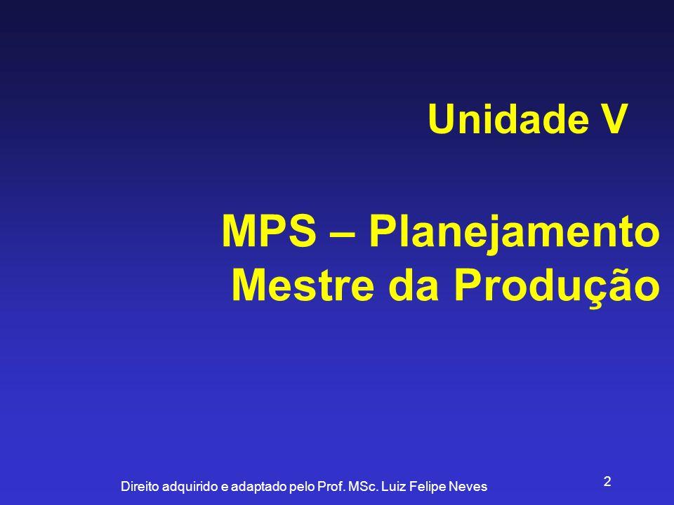 Unidade V MPS – Planejamento Mestre da Produção
