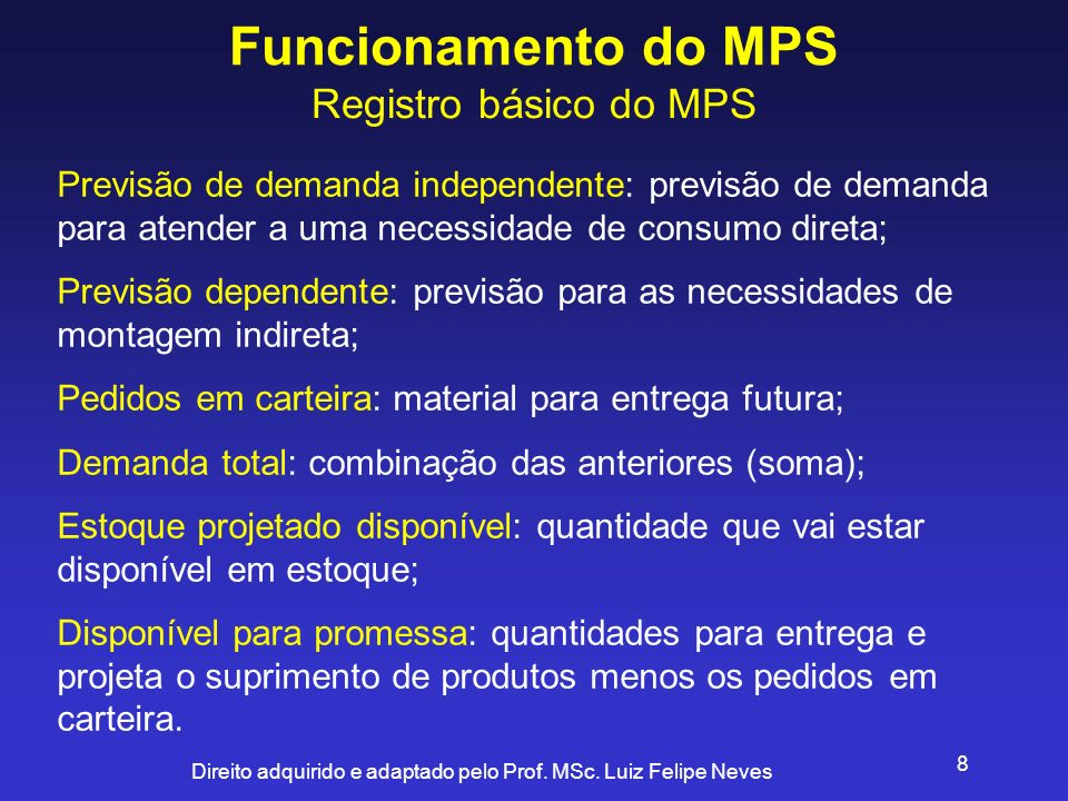 Funcionamento do MPS Registro básico do MPS