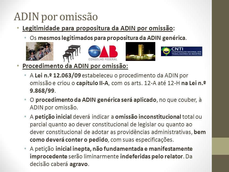ADIN por omissão Legitimidade para propositura da ADIN por omissão: