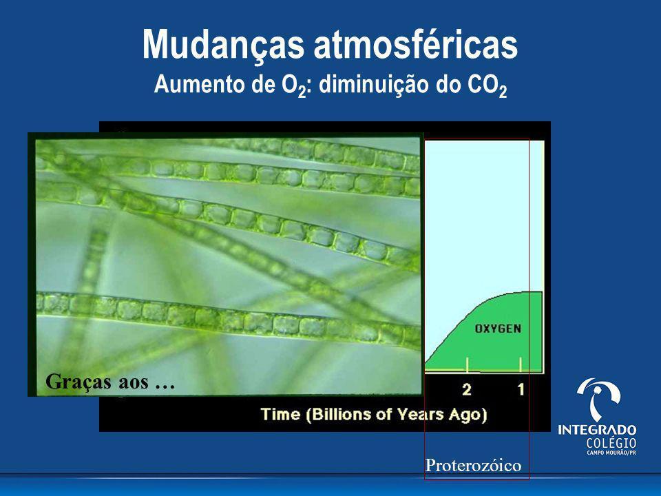 Mudanças atmosféricas Aumento de O2: diminuição do CO2