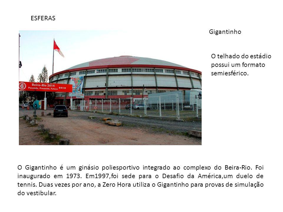 ESFERAS Gigantinho. O telhado do estádio possui um formato semiesférico.