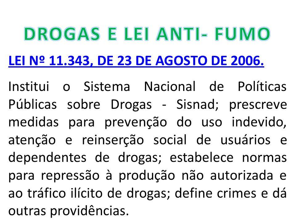DROGAS E LEI ANTI- FUMO LEI Nº 11.343, DE 23 DE AGOSTO DE 2006.