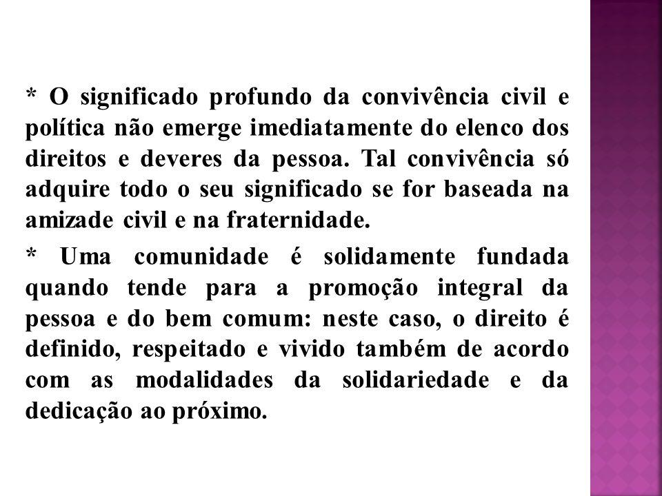* O significado profundo da convivência civil e política não emerge imediatamente do elenco dos direitos e deveres da pessoa.