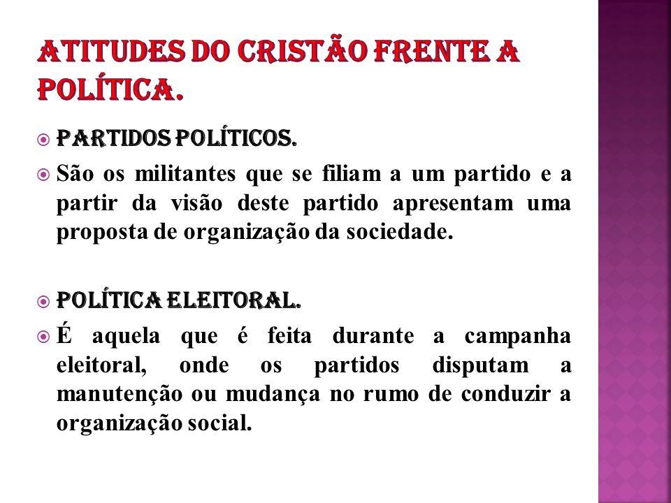 ATITUDES DO CRISTÃO FRENTE A POLÍTICA.