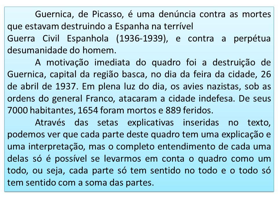 Guernica, de Picasso, é uma denúncia contra as mortes que estavam destruindo a Espanha na terrível