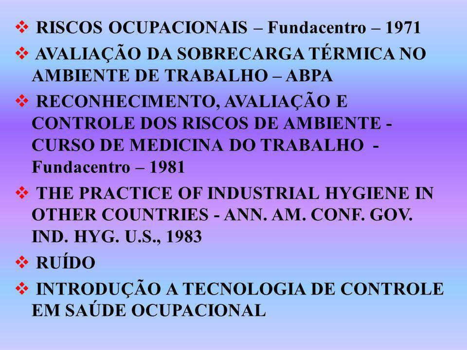 RISCOS OCUPACIONAIS – Fundacentro – 1971