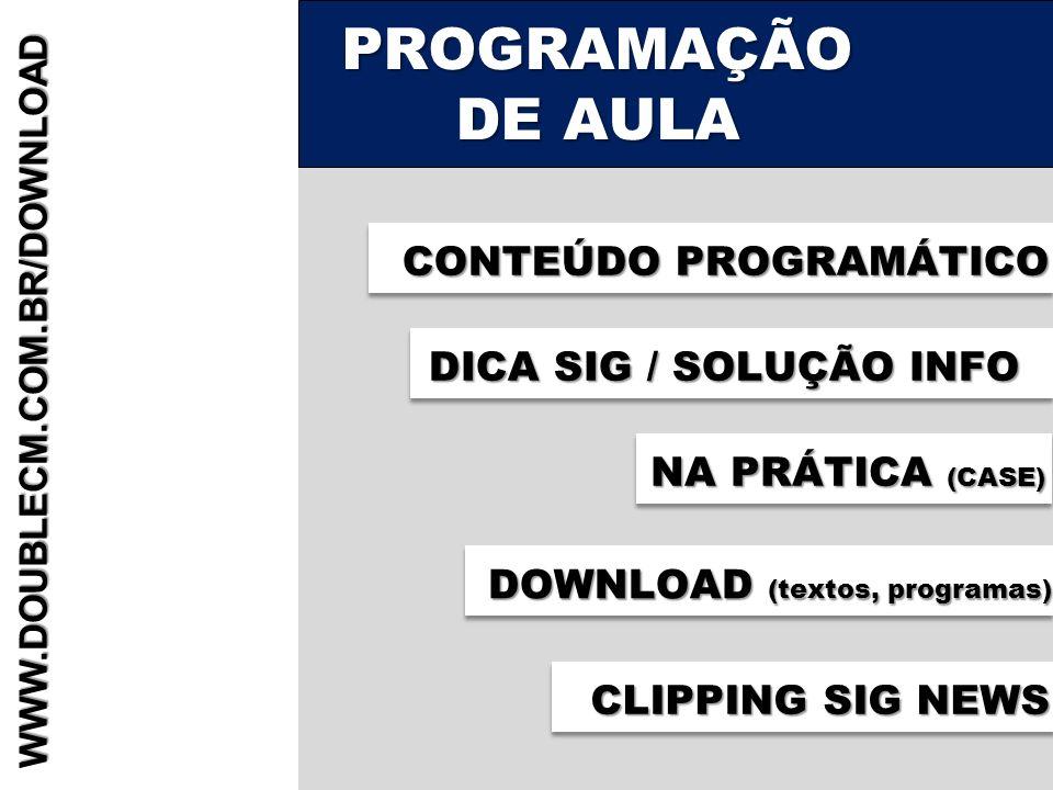 PROGRAMAÇÃO DE AULA CONTEÚDO PROGRAMÁTICO DICA SIG / SOLUÇÃO INFO