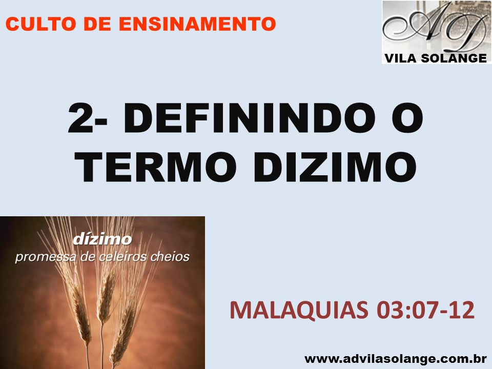 2- DEFININDO O TERMO DIZIMO