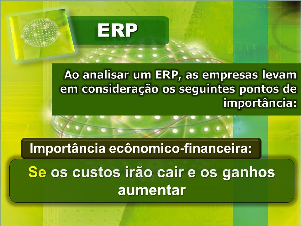 ERP Se os custos irão cair e os ganhos aumentar