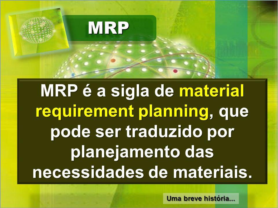 MRP MRP é a sigla de material requirement planning, que pode ser traduzido por planejamento das necessidades de materiais.
