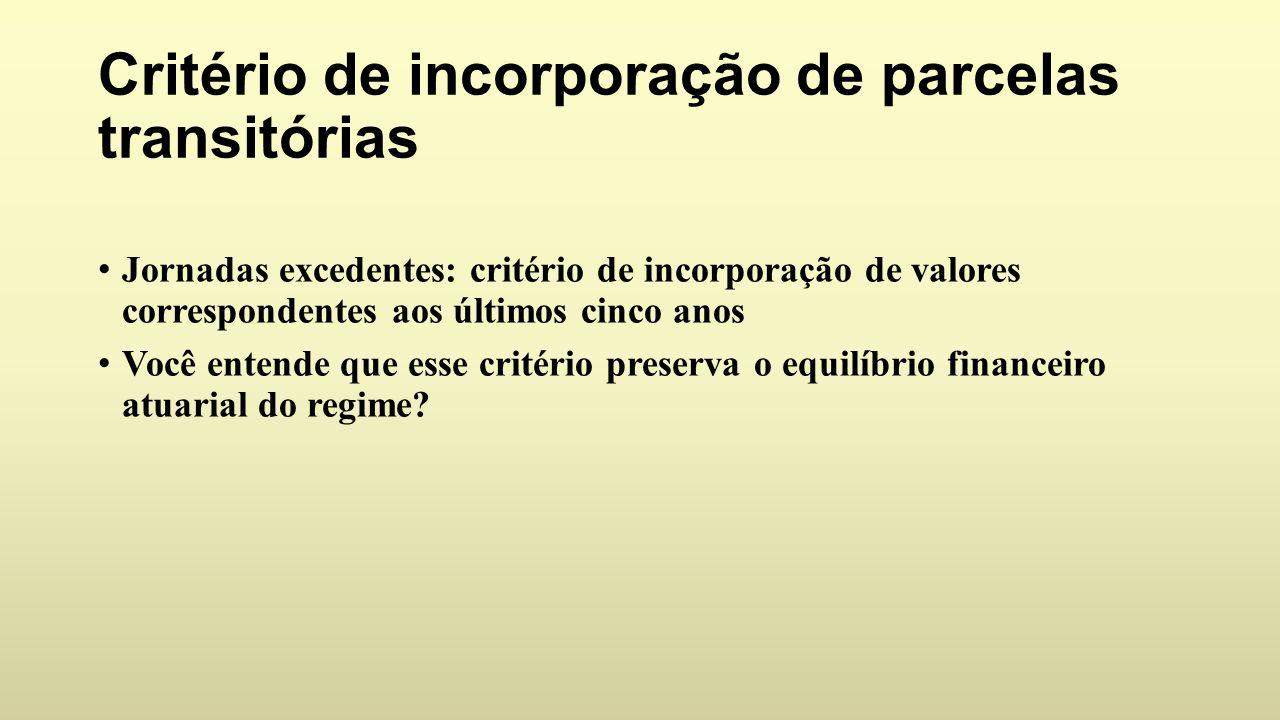 Critério de incorporação de parcelas transitórias