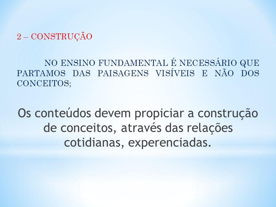 2 – CONSTRUÇÃO NO ENSINO FUNDAMENTAL É NECESSÁRIO QUE PARTAMOS DAS PAISAGENS VISÍVEIS E NÃO DOS CONCEITOS;