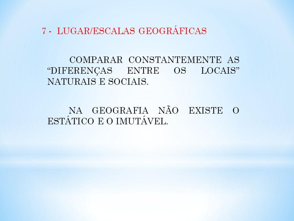 7 - LUGAR/ESCALAS GEOGRÁFICAS COMPARAR CONSTANTEMENTE AS DIFERENÇAS ENTRE OS LOCAIS NATURAIS E SOCIAIS.
