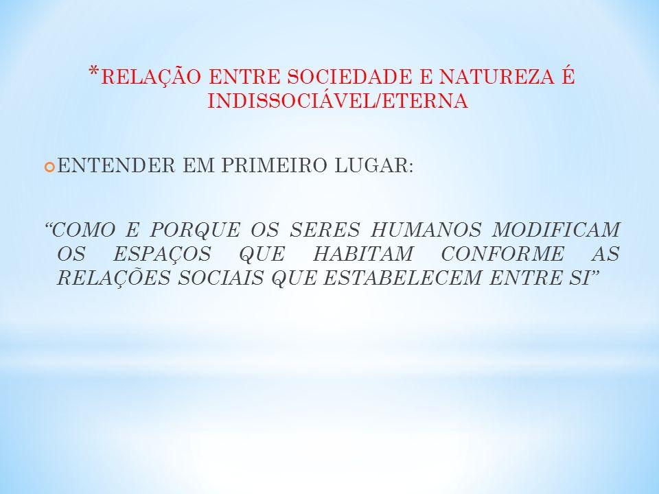 RELAÇÃO ENTRE SOCIEDADE E NATUREZA É INDISSOCIÁVEL/ETERNA