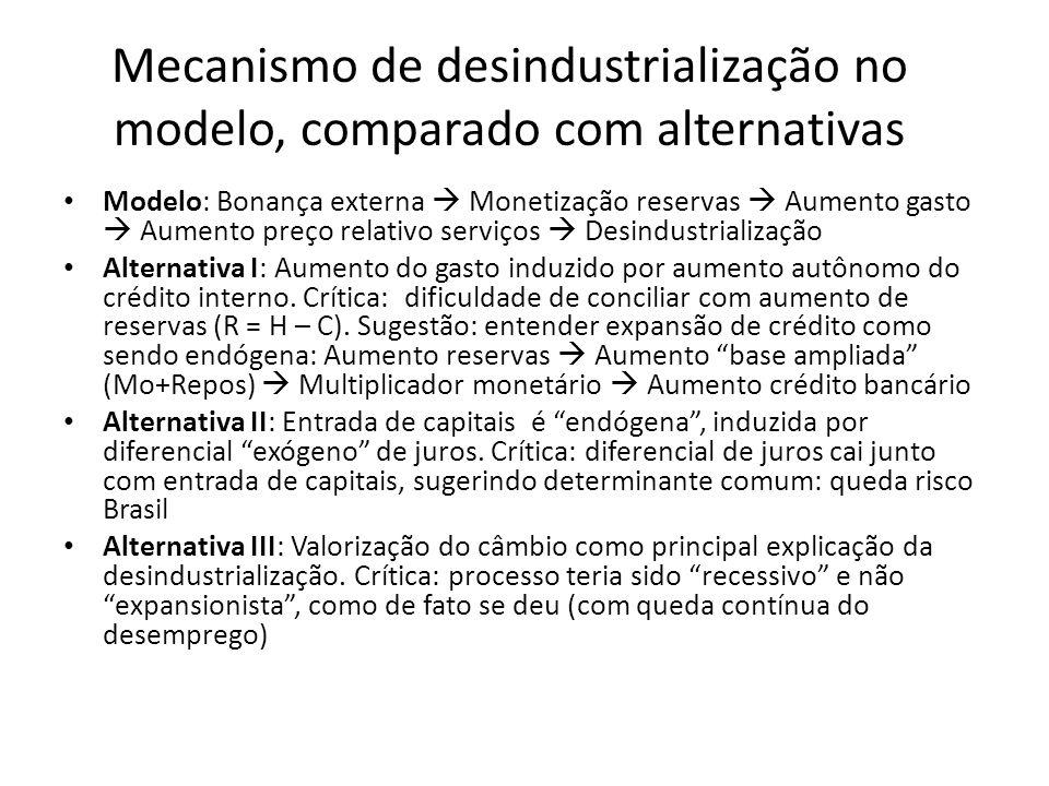Mecanismo de desindustrialização no modelo, comparado com alternativas