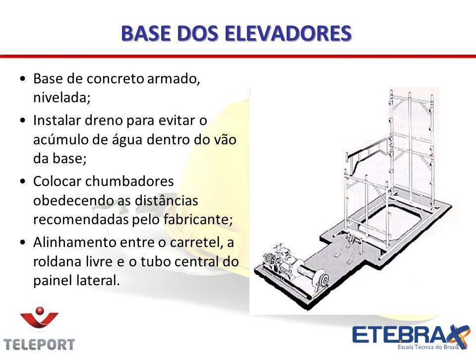 BASE DOS ELEVADORES Base de concreto armado, nivelada;