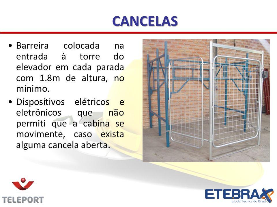 CANCELAS Barreira colocada na entrada à torre do elevador em cada parada com 1.8m de altura, no mínimo.