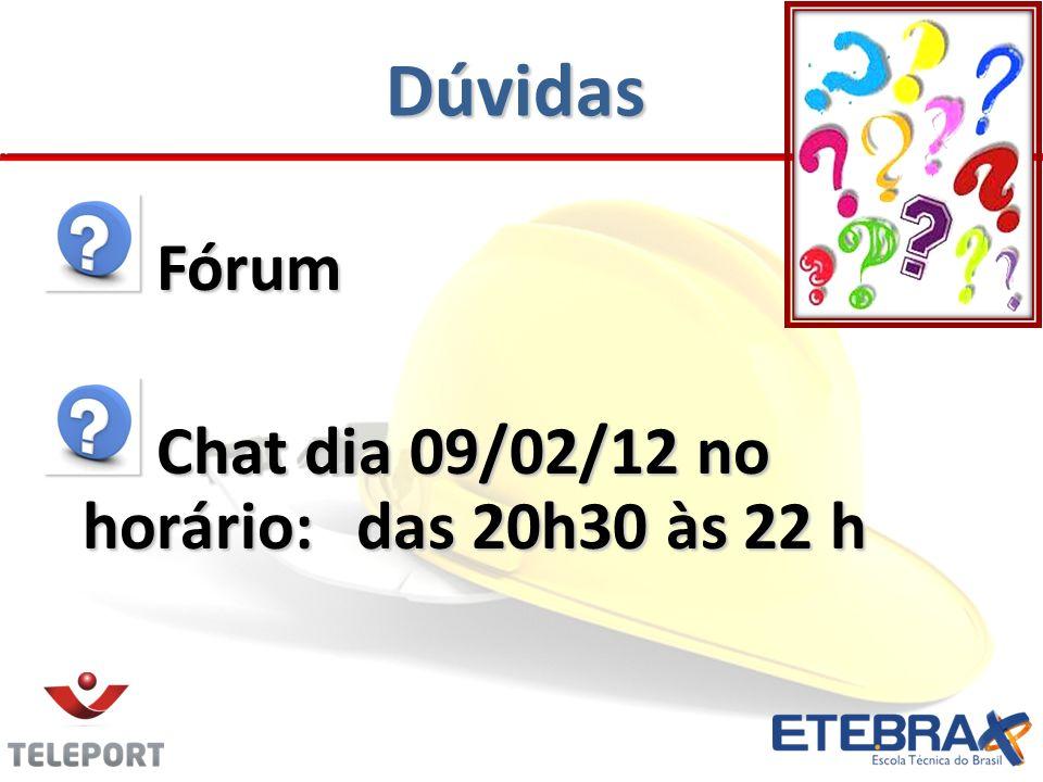 Dúvidas Fórum Chat dia 09/02/12 no horário: das 20h30 às 22 h
