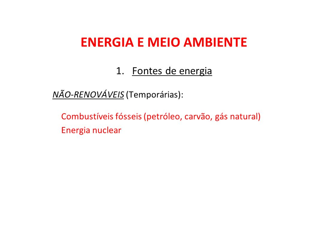 ENERGIA E MEIO AMBIENTE