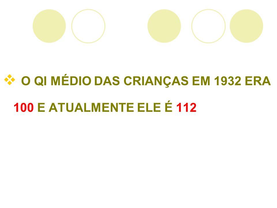 O QI MÉDIO DAS CRIANÇAS EM 1932 ERA 100 E ATUALMENTE ELE É 112