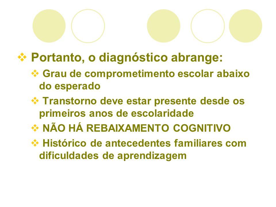 Portanto, o diagnóstico abrange: