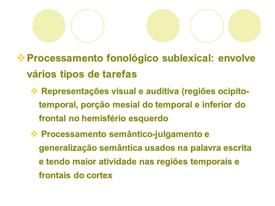 Processamento fonológico sublexical: envolve vários tipos de tarefas