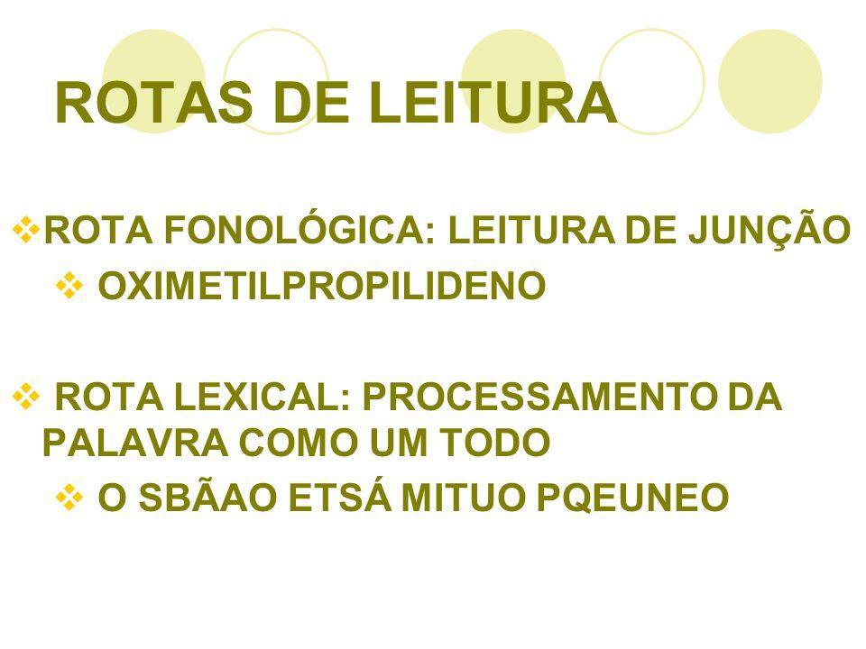 ROTAS DE LEITURA ROTA FONOLÓGICA: LEITURA DE JUNÇÃO