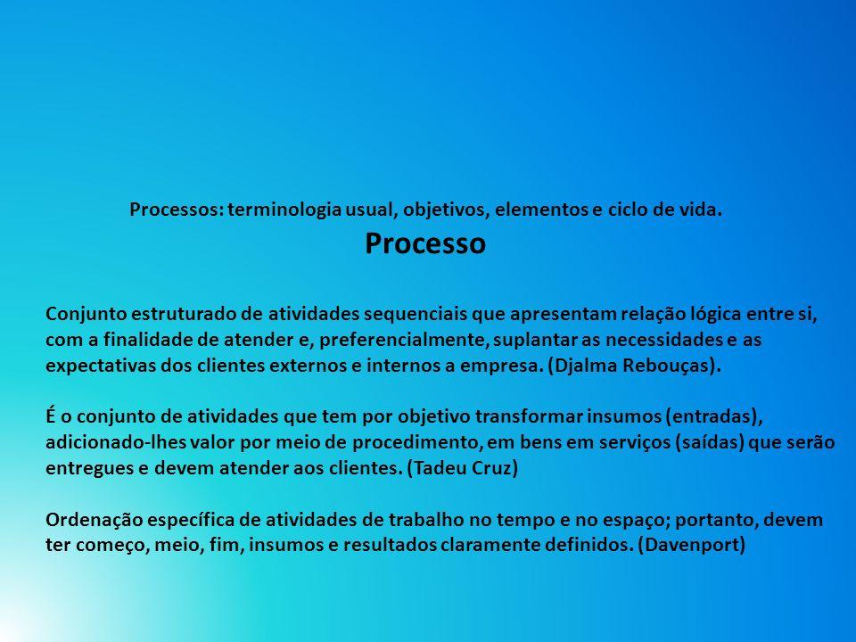Processos: terminologia usual, objetivos, elementos e ciclo de vida
