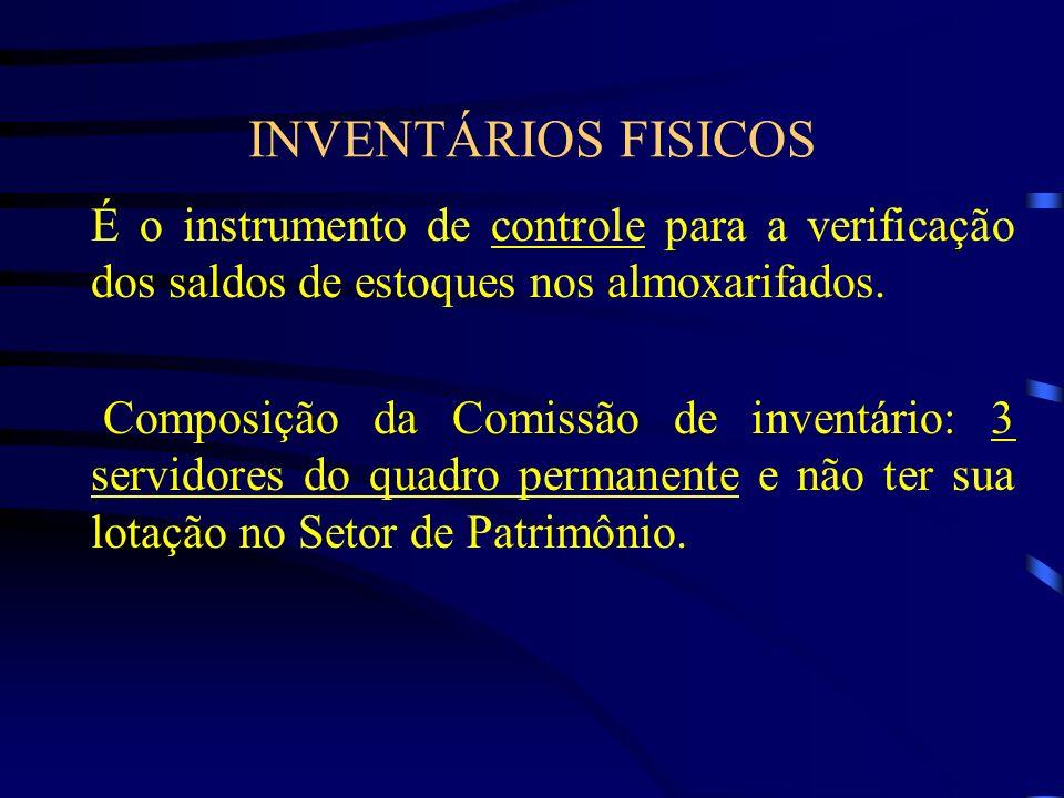 INVENTÁRIOS FISICOS É o instrumento de controle para a verificação dos saldos de estoques nos almoxarifados.