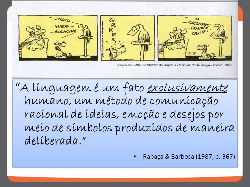 A linguagem é um fato exclusivamente humano, um método de comunicação racional de ideias, emoção e desejos por meio de símbolos produzidos de maneira deliberada.