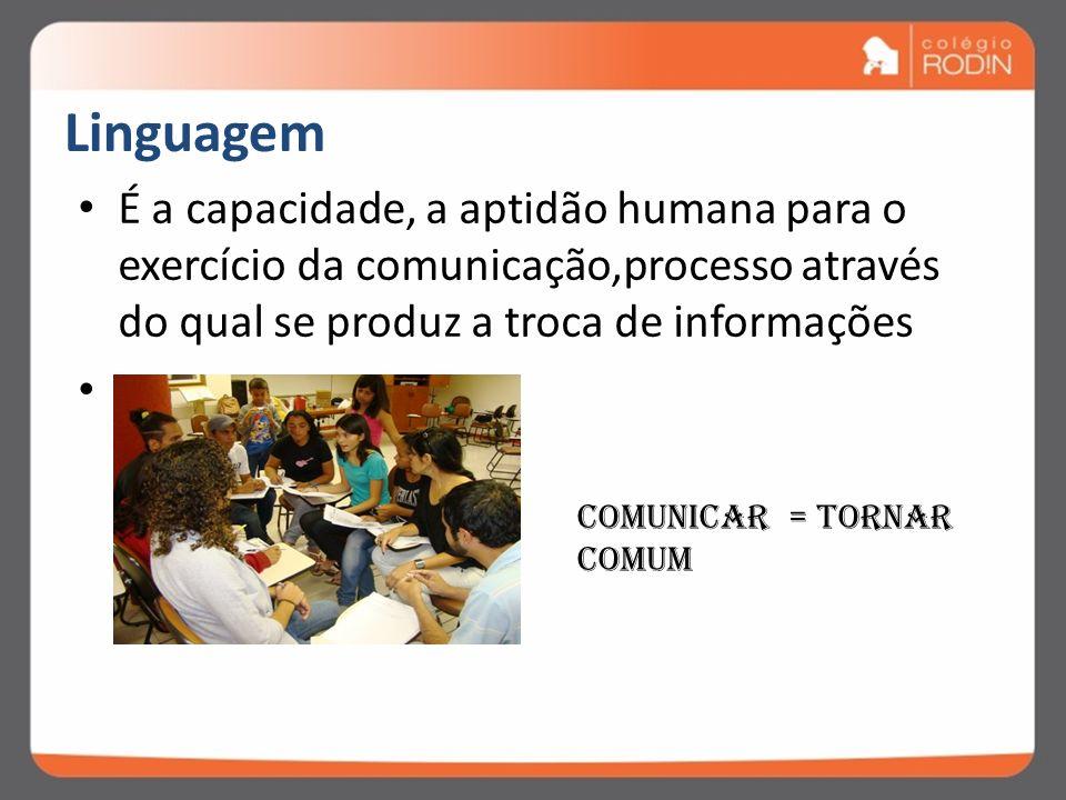 Linguagem É a capacidade, a aptidão humana para o exercício da comunicação,processo através do qual se produz a troca de informações.