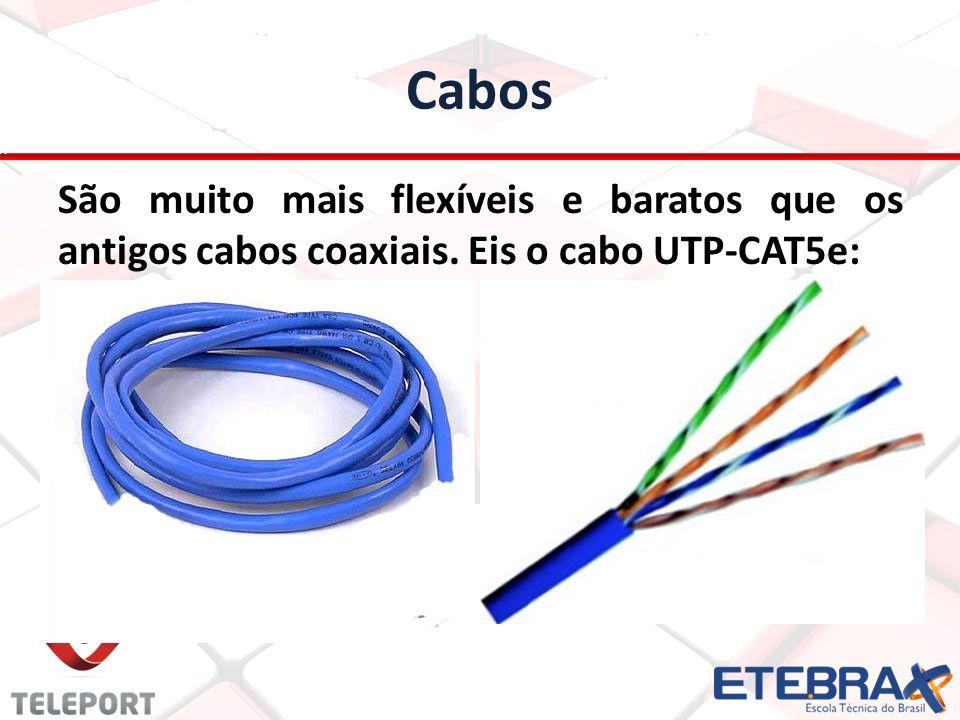 Cabos São muito mais flexíveis e baratos que os antigos cabos coaxiais. Eis o cabo UTP-CAT5e: