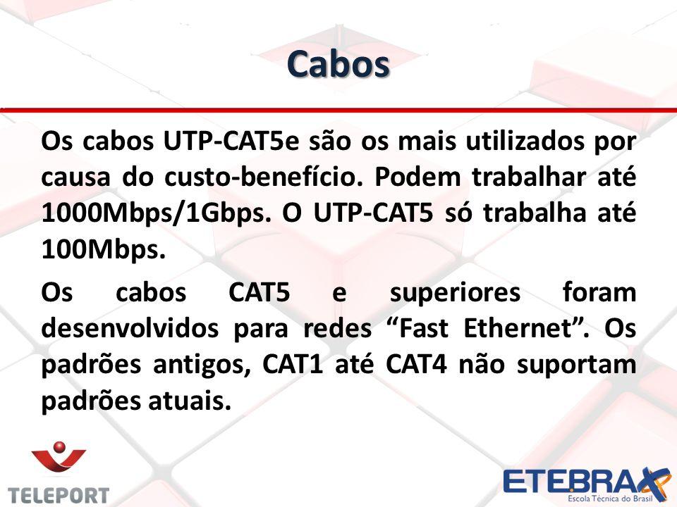 Cabos Os cabos UTP-CAT5e são os mais utilizados por causa do custo-benefício. Podem trabalhar até 1000Mbps/1Gbps. O UTP-CAT5 só trabalha até 100Mbps.