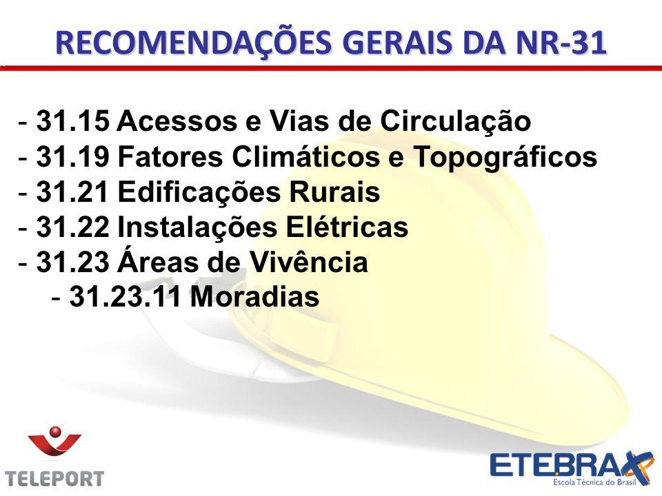 RECOMENDAÇÕES GERAIS DA NR-31