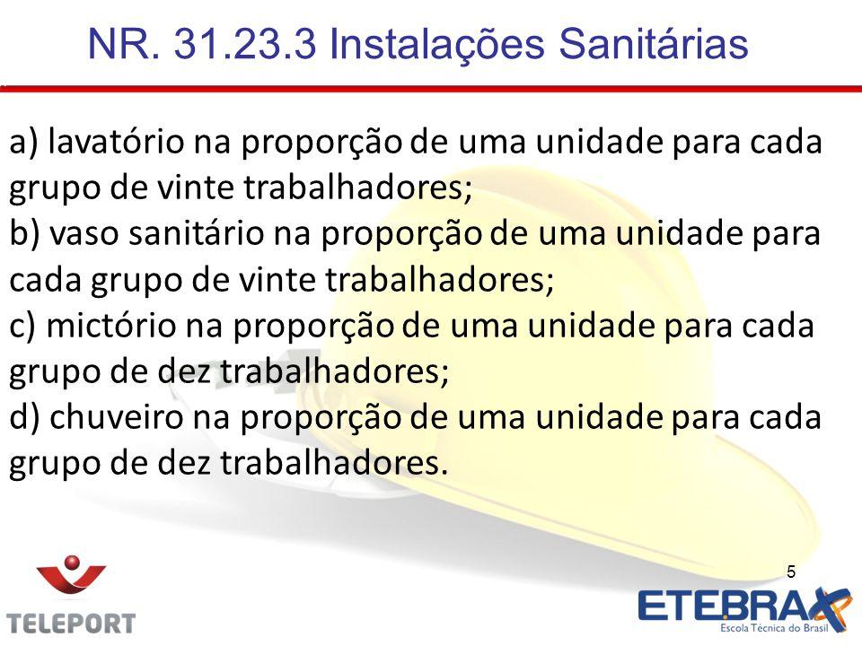 NR. 31.23.3 Instalações Sanitárias