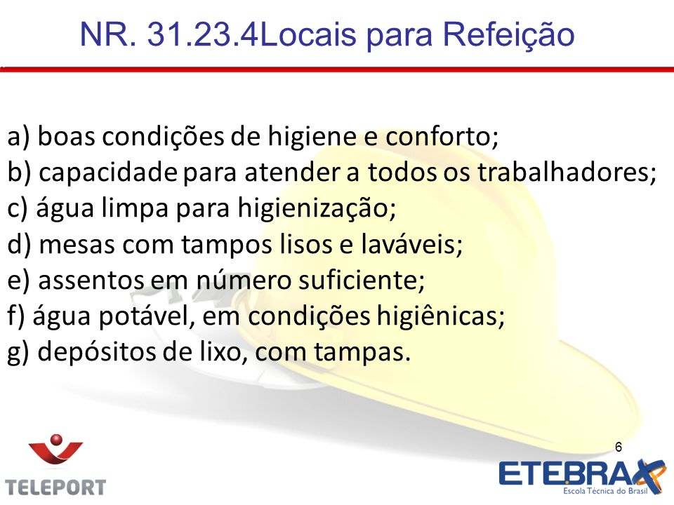 NR. 31.23.4Locais para Refeição